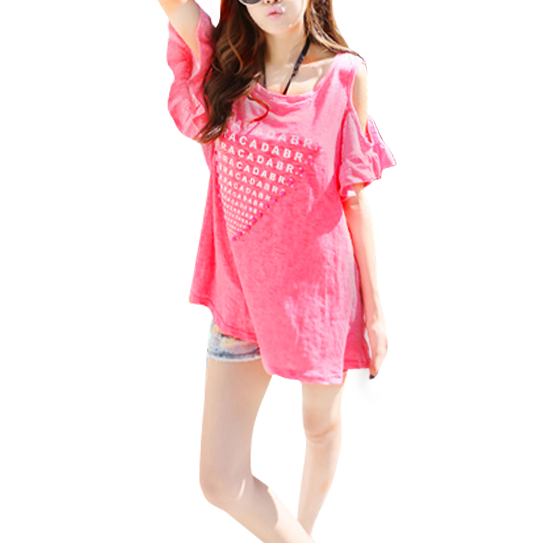 Women Pink Cut Out Design Shoulder Round Neck Letter Print Tunic Shirt S