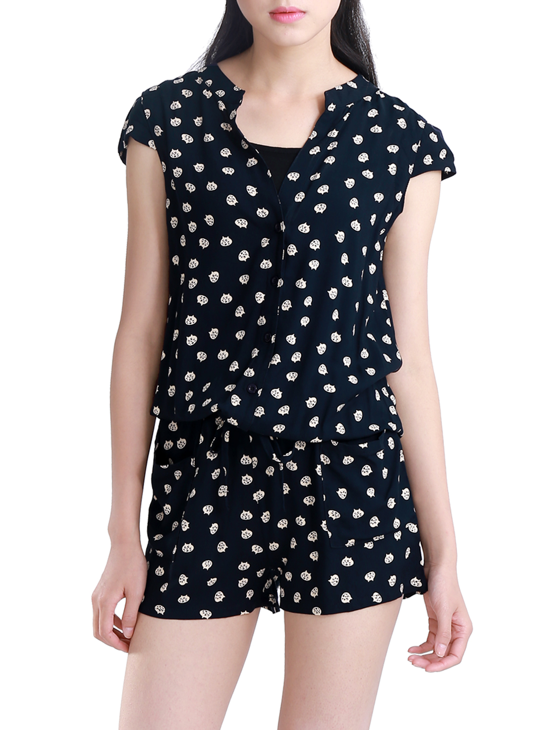 Women Cartoon Pattern Split Neck Cap Sleeve Elastic Waist Romper Dark Blue XS