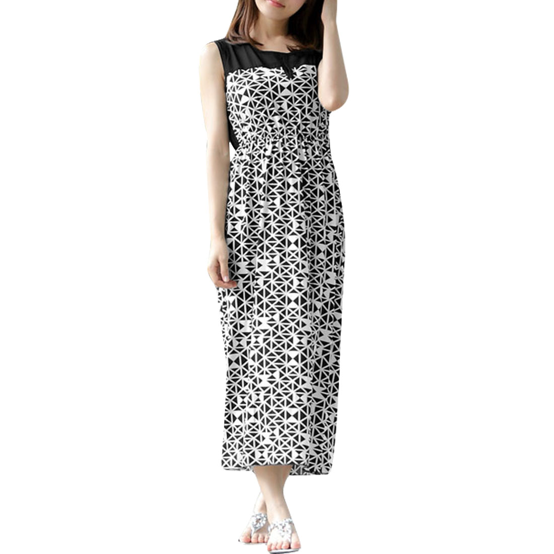 Ladies Elastic Waist Round Neck Semi Sheer Back Pullover Dress S Black White