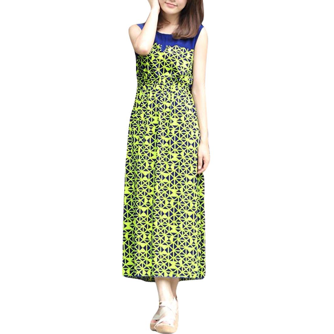 Women Round Hem Geometric Pattern Sleeveless Design Casual Dress Blue Lime S