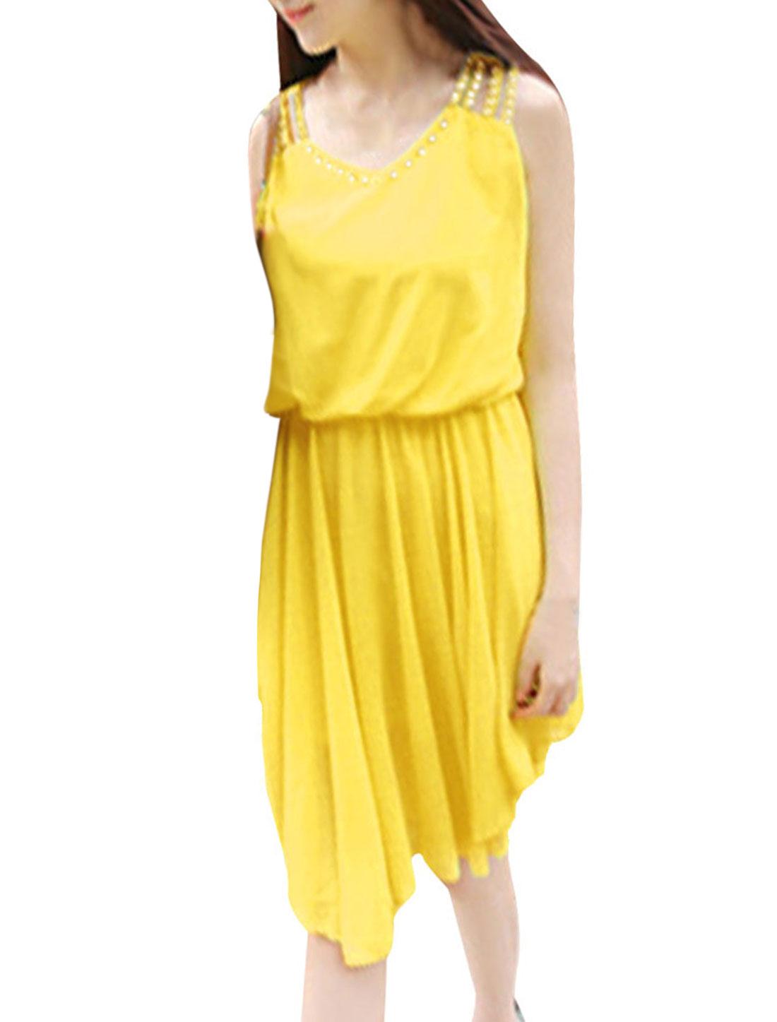 Ladies V Neck Pullover Sleeveless Elastic Waist Dress Yellow XS