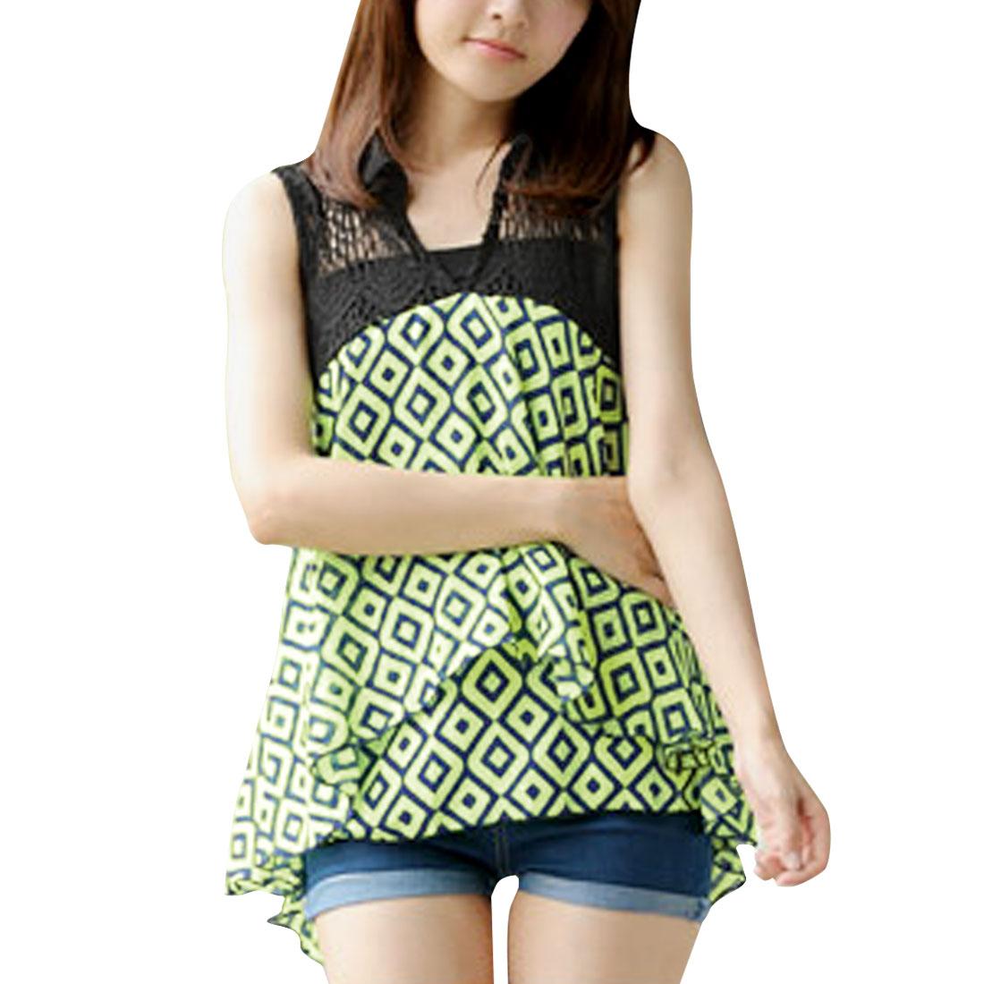 Ladies V Neck Sleeveless Crochet Upper Lime Black Geometric Pattern Blouse XS