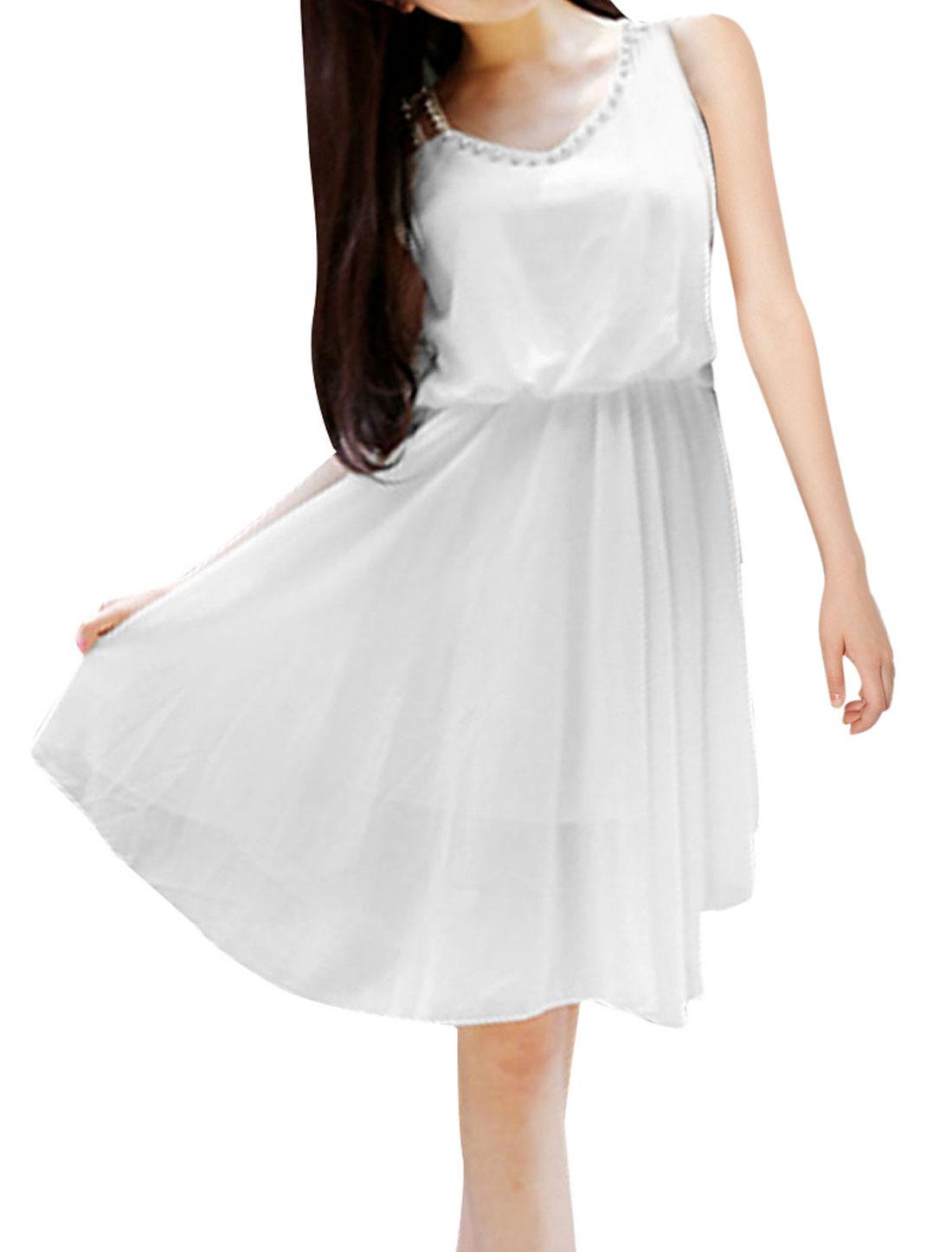 Ladies V Neck Pullover Sleeveless Rhinestone Decor Dress White XS