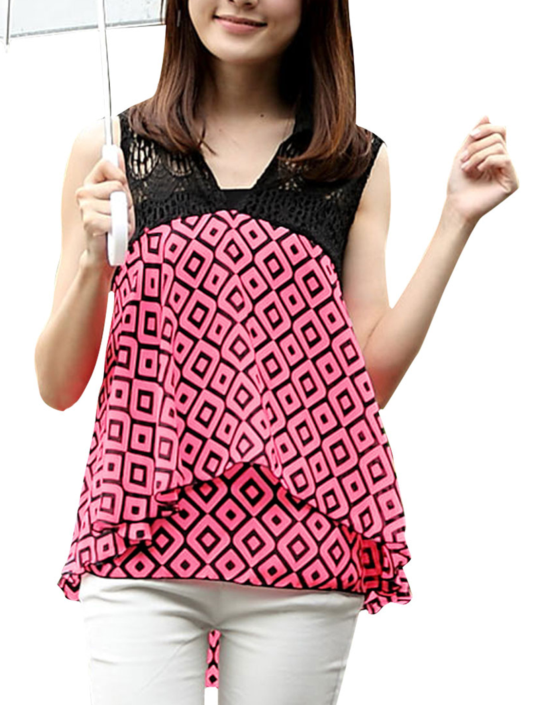 Woman Chic Crochet Hollow Upper Splice Irregular Hem Fuchsia Black Blouse XS