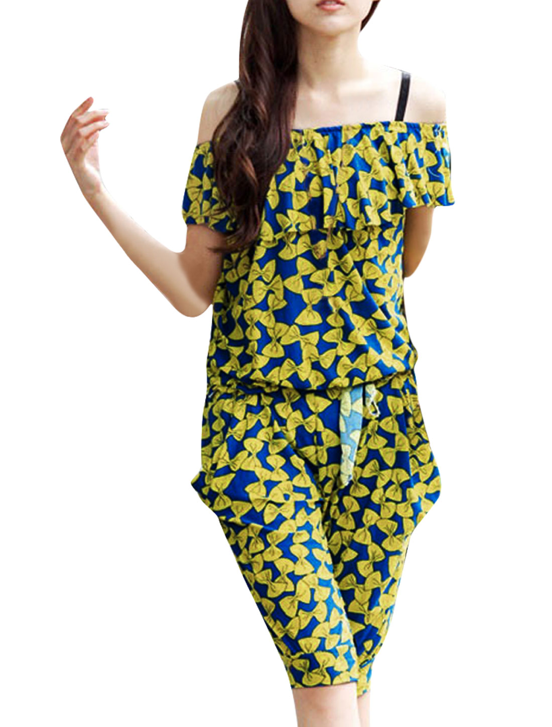Lady Flouncing Detail Sleeveless Bowknots Prints Yellow Blue Harem Jumpsuit S