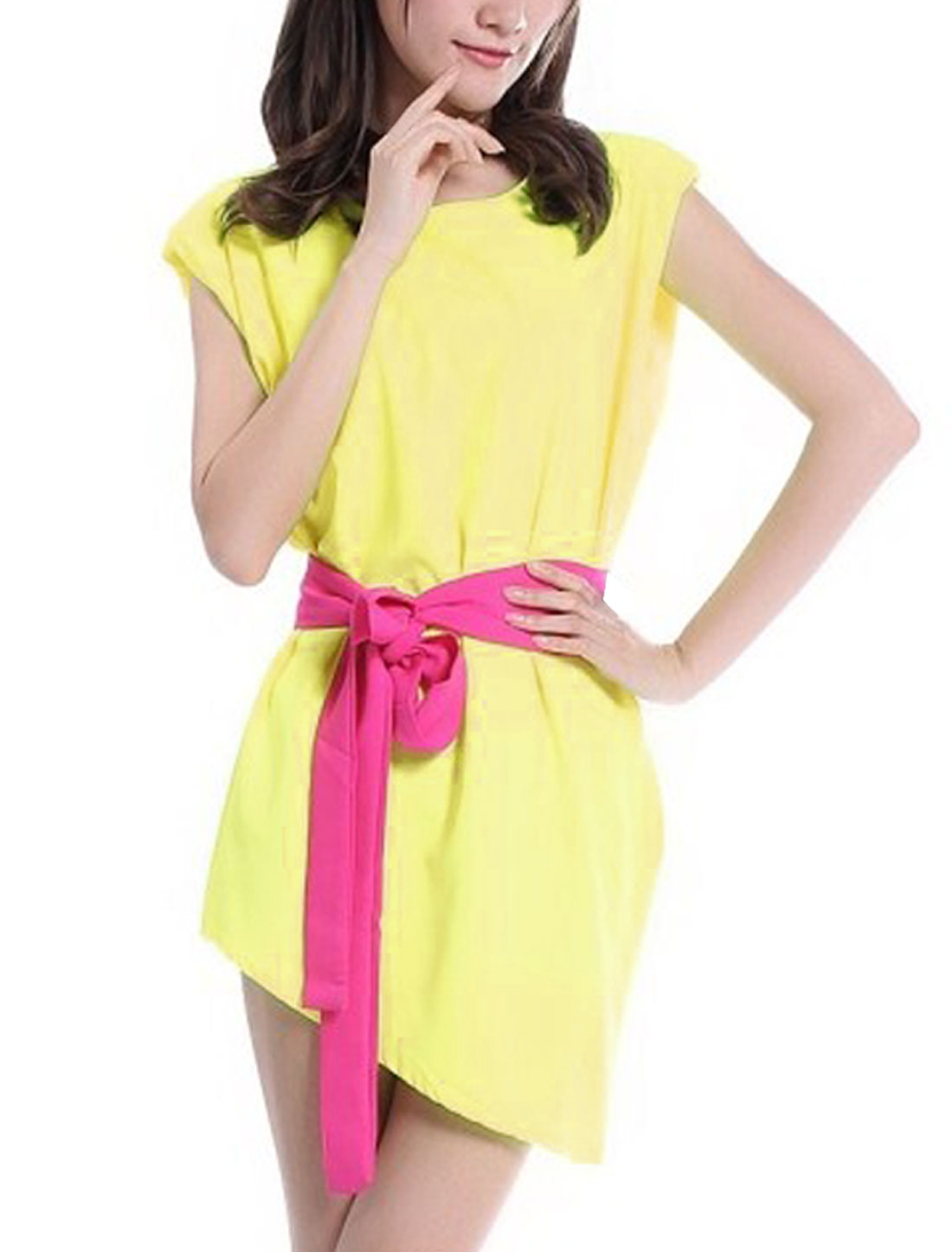 Lady Paded Shoulder Pullover Straight Yellow Fuchsia Dress XS