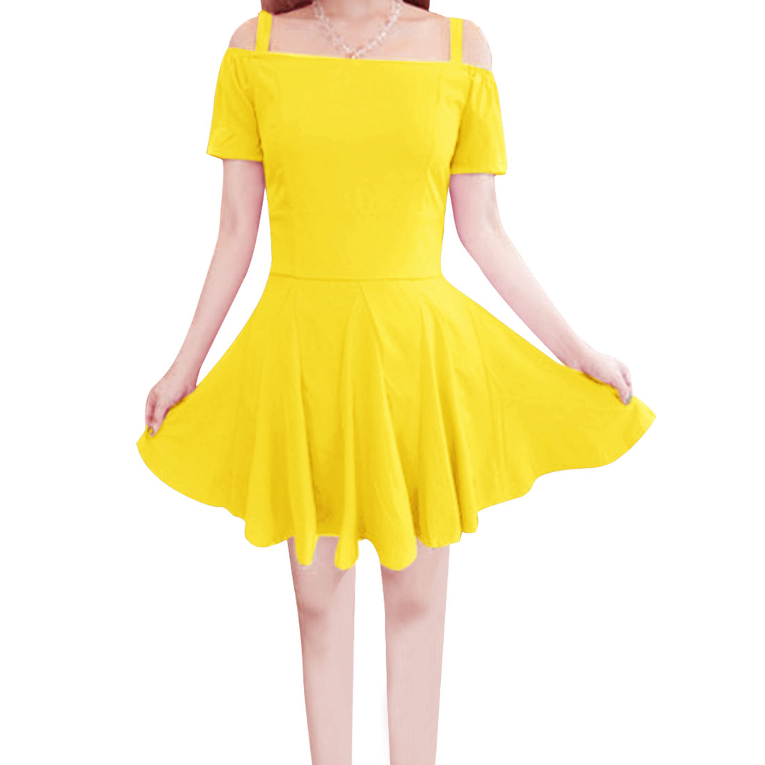 Ladies Spaghetti Strap Short Sleeve Stylish Dress Yellow XS