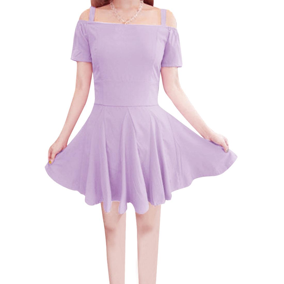 Fashion Ladies Spaghetti Strap Zip Up Right Dress Lilac XS