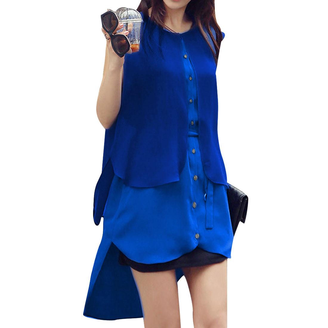 Ladies Sleeveless Dipped Hem Round Neck Modern Shirt Blue S