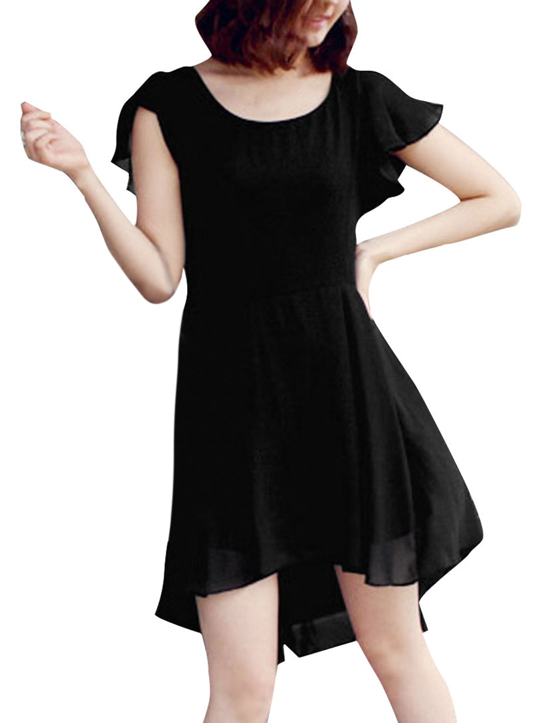 Lady Black Round Neck Ruffle Cap Sleeve Irregular Hem Chiffon Dress XS