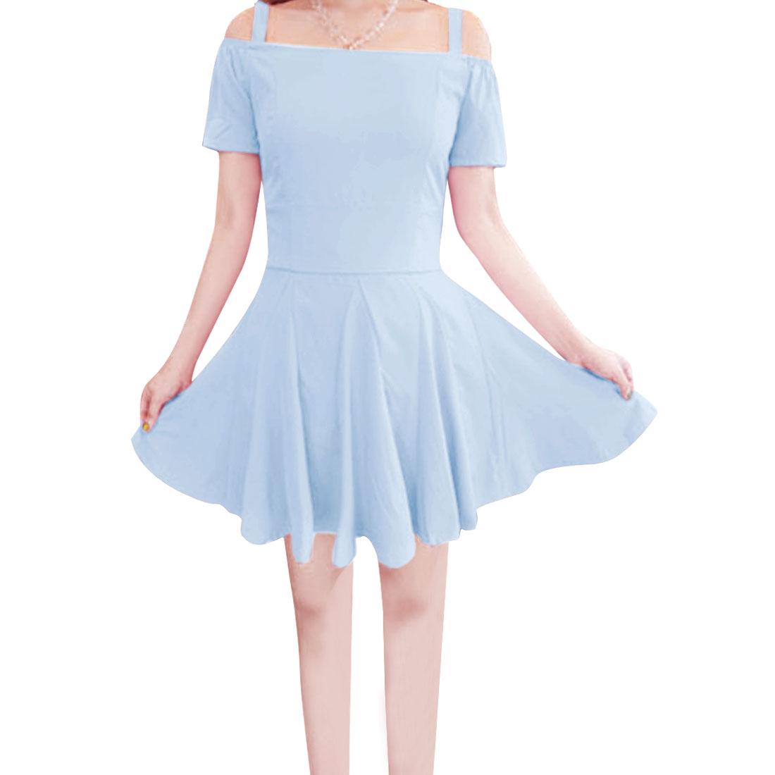 Ladies Short Sleeve Stylish Dress Baby Blue XS