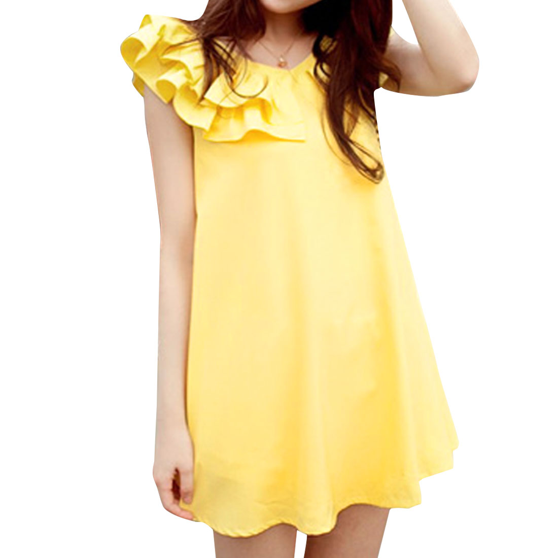 Ladies Hidden Zipper Back Above Knee Chiffon Dress Yellow S