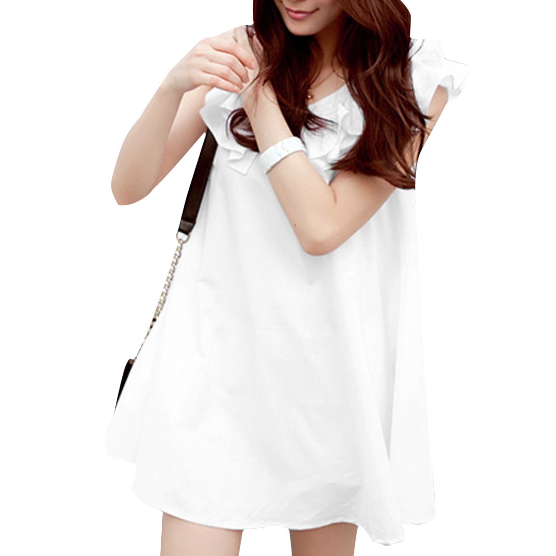 Women Zipper Up Round Neck Flouncing A Line Dress White S