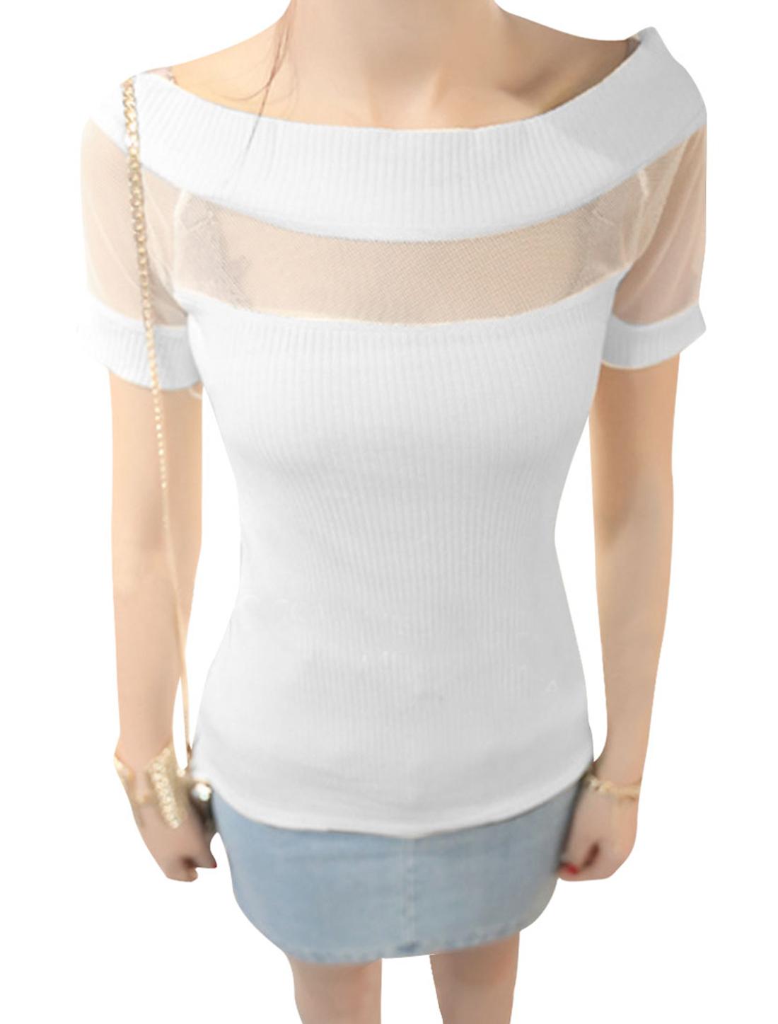 Lady Pullover Mesh Detail Splice Semi-sheer White Ribing Blouse XS