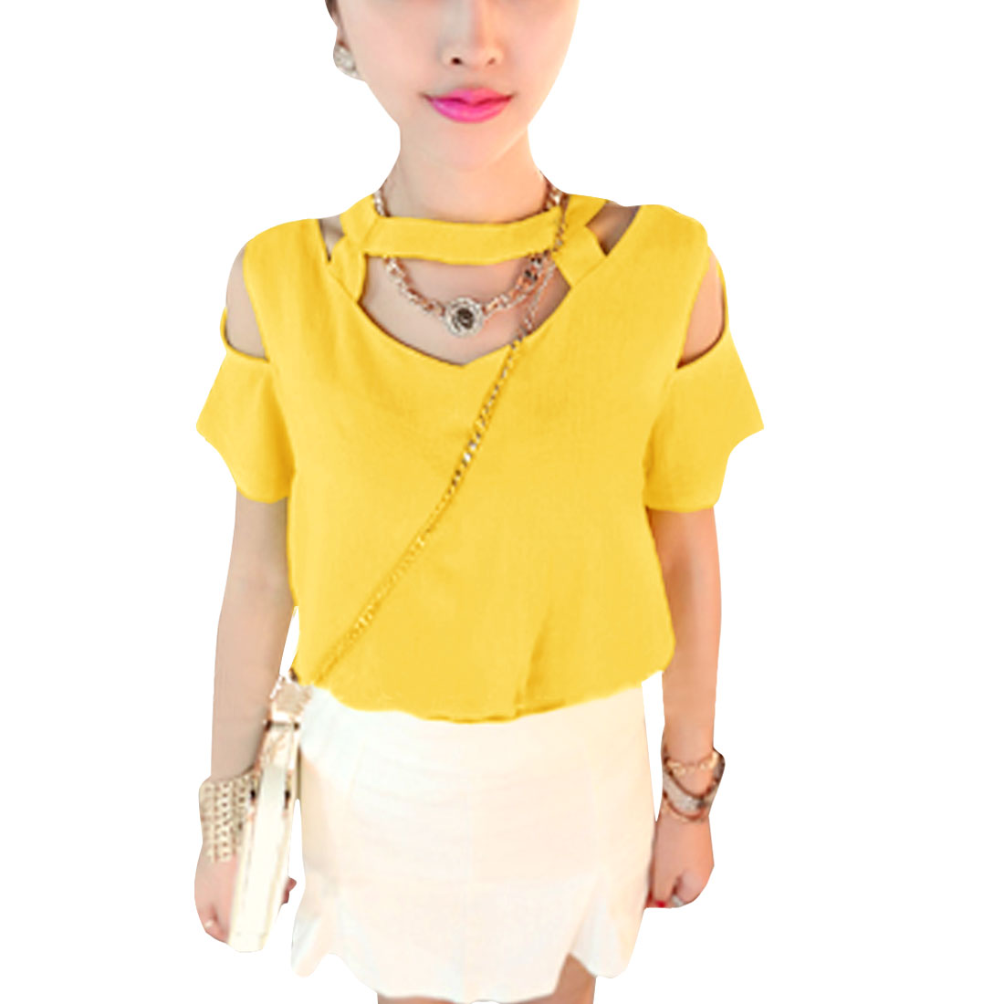 Lady Short Sleeve Hollow Out Decor Detail Straight Blouse Yellow XS