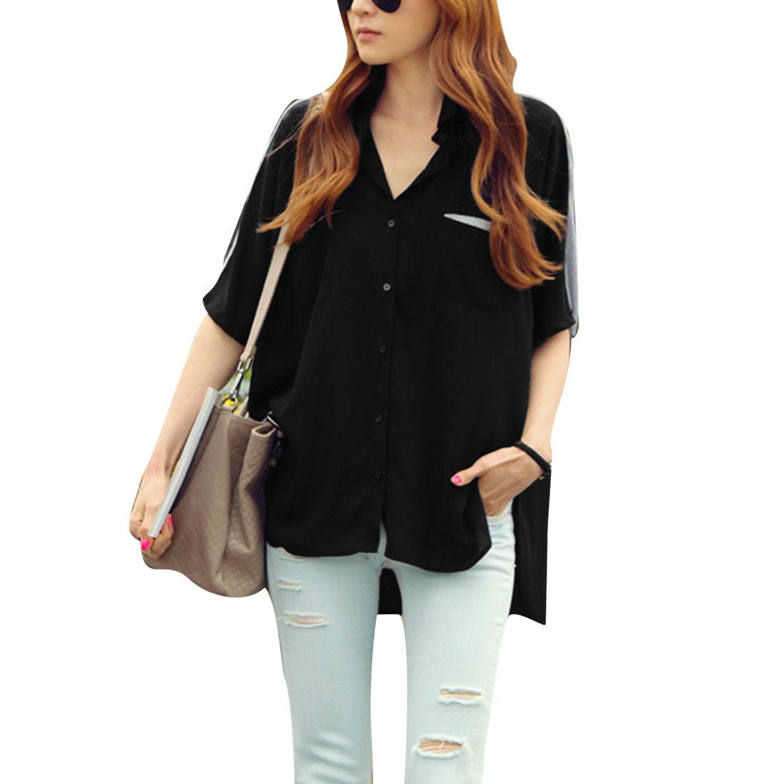 Women Button Closure Point Collar Batwing Sleeve Summer Tunic Shirt Black L