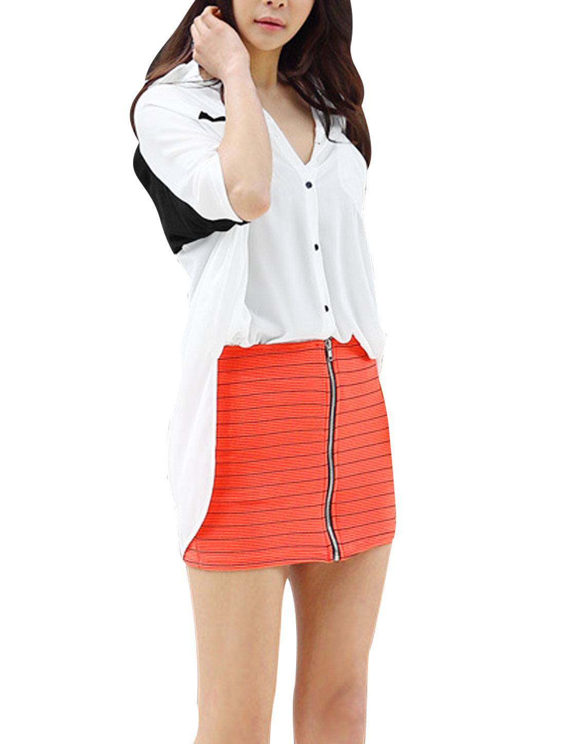 Ladies Dolman Sleeve Point Collar Design High Low Hem Tunic Shirt White L