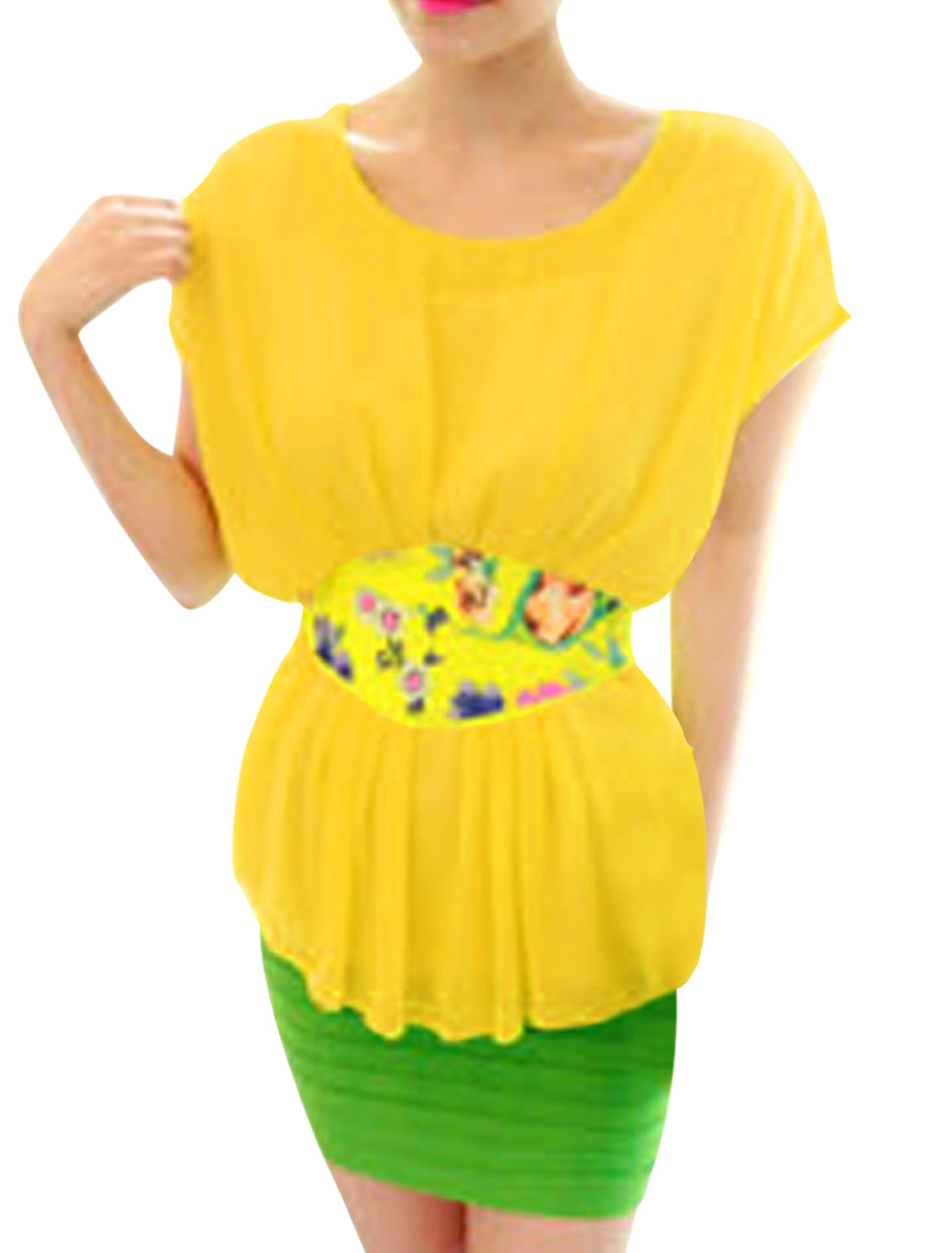 Women Korean Fashion Dolman Sleeve Floral Pattern Splice Tunic Top Light Yellow M