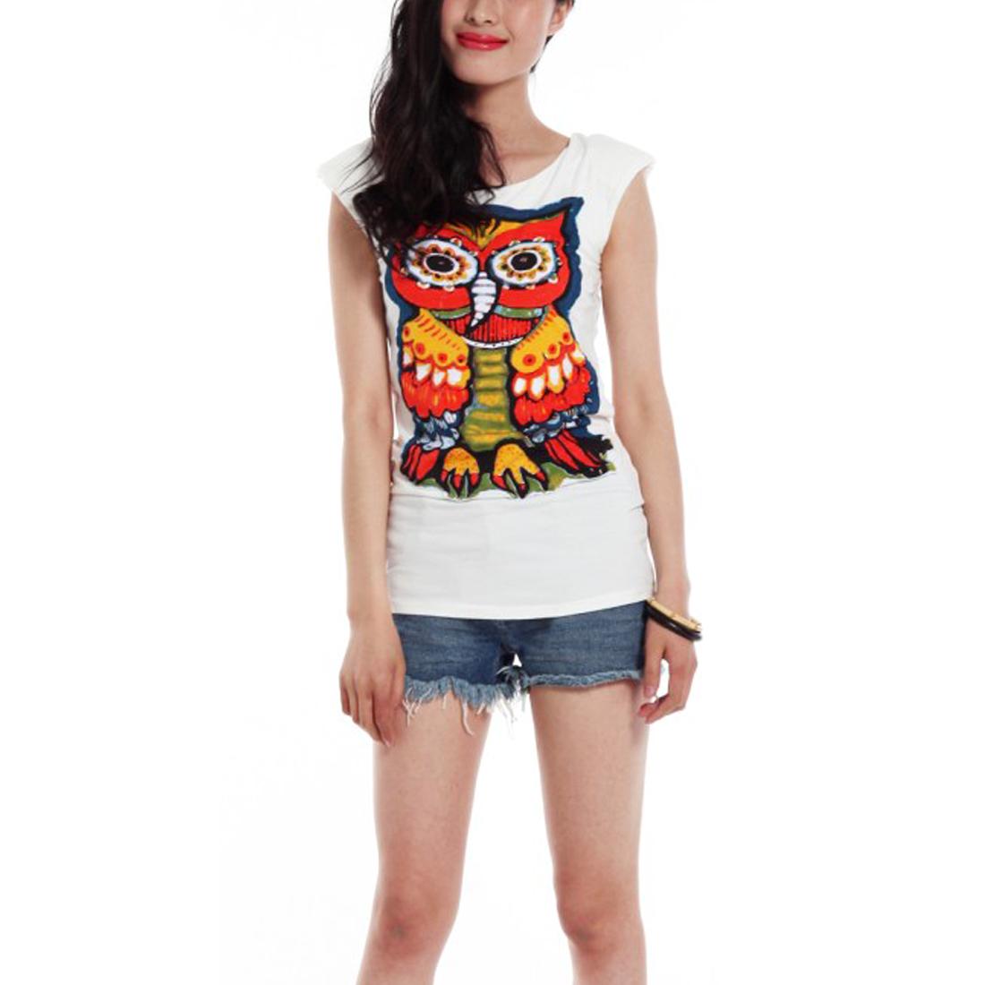 Lady Sleeveless Scoop Neck Stylish Owl White Fitted T-Shirt XS