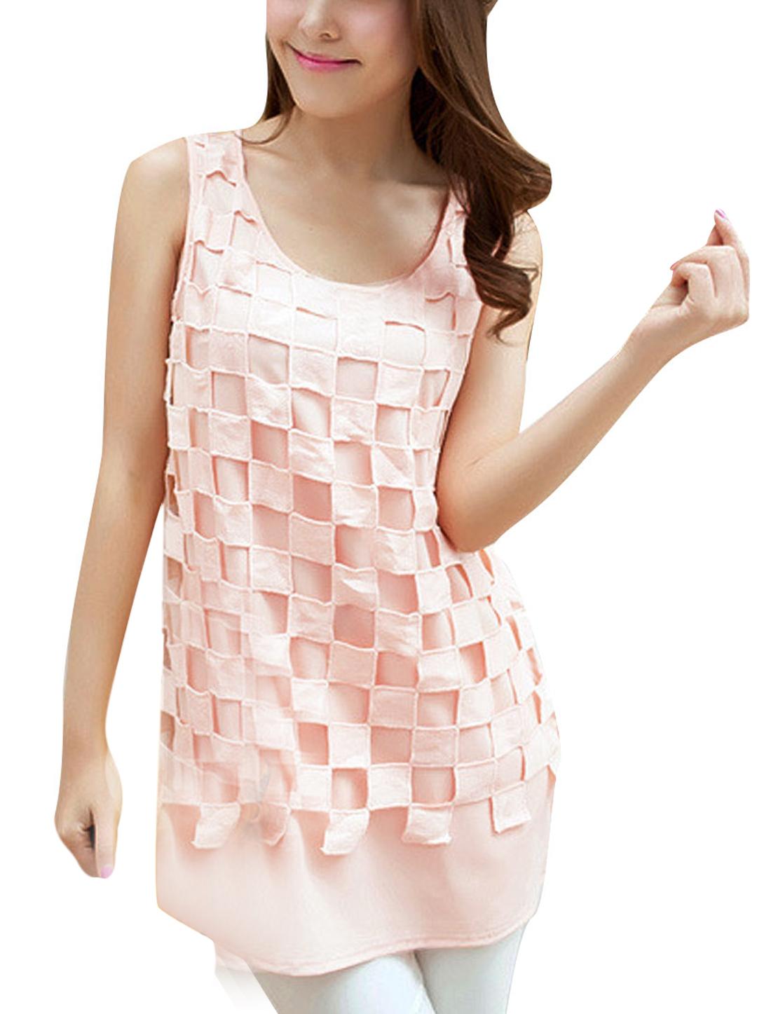 Ladies Round Neck Sleeveless Semi Sheer Top Shirt Pink XS