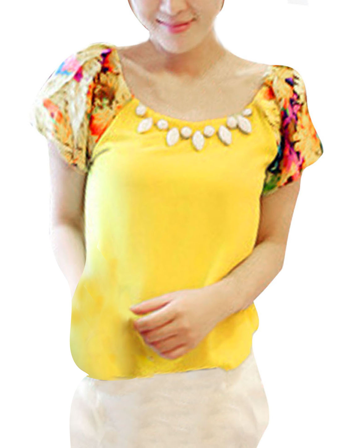 Lady Floral Prints Short-sleeved Loose Tops Blouses Yellow S