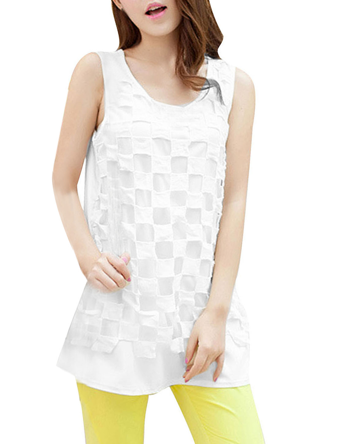 Ladies Round Neck Sleeveless Plaids Top Shirt White XS