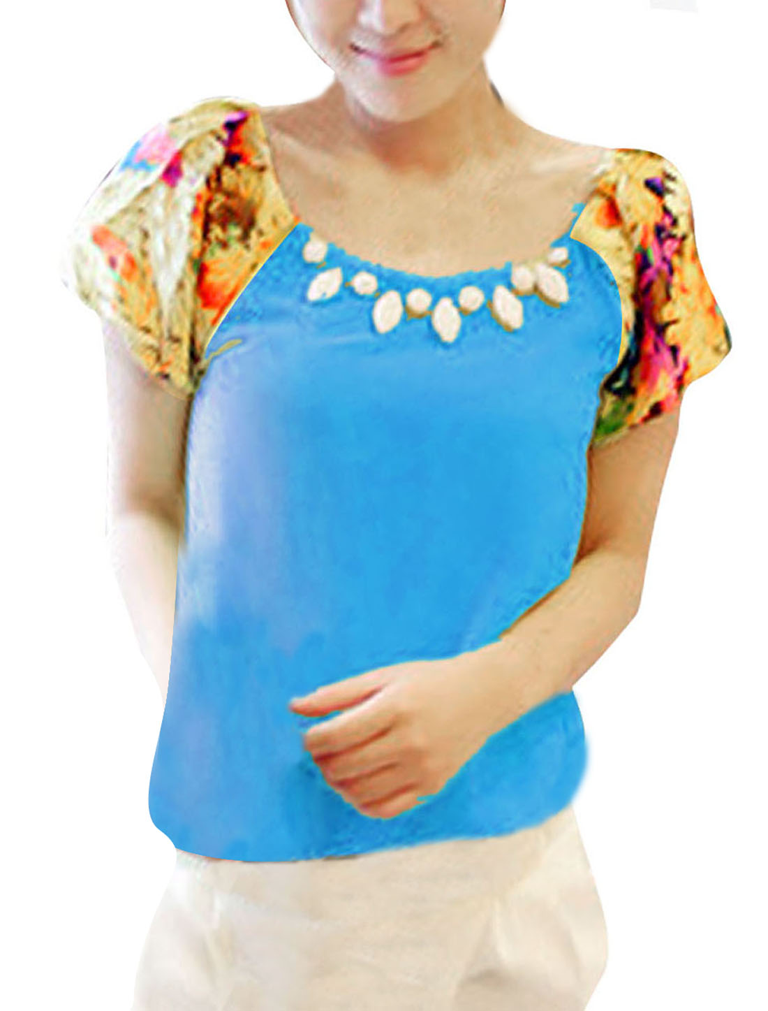 Women Floral Prints Round Neck Chiffon Leisure Shirt Cyan S