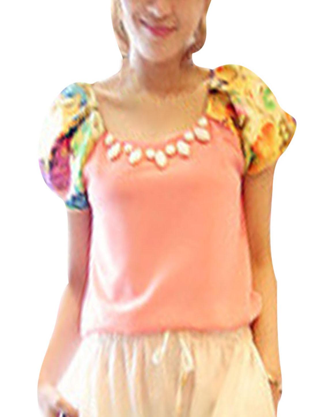 Ladies Round Neck Short Sleeve Fashion Elegant Shirt Pink S