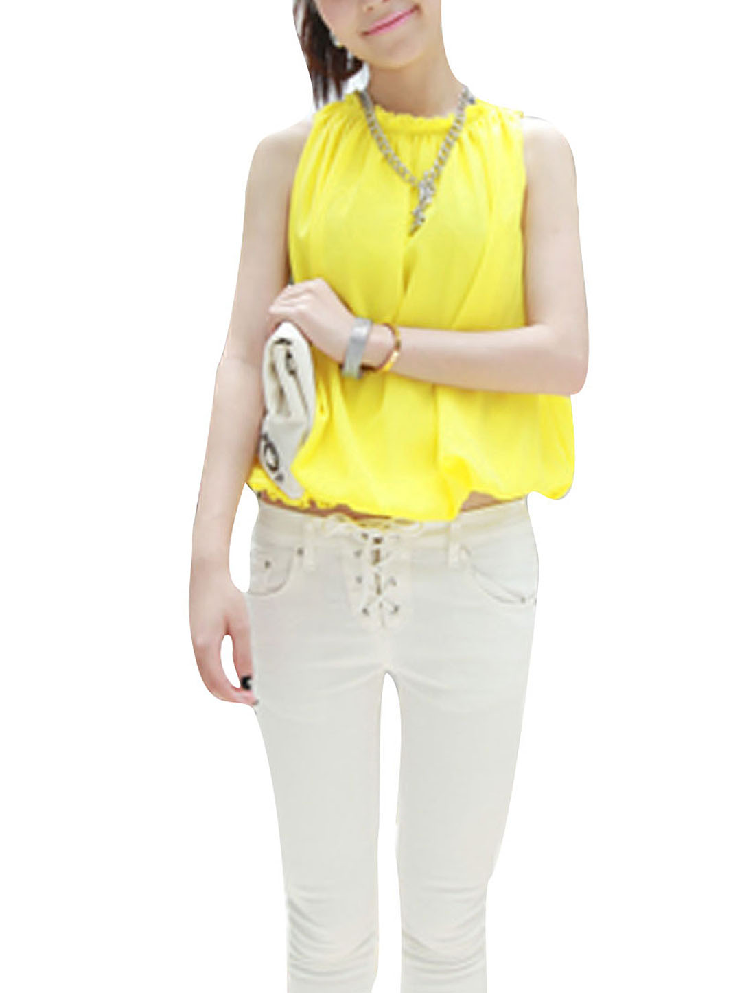 Ladies Chiffon Sleeveless Round Neck Sexy Shirts Yellow S