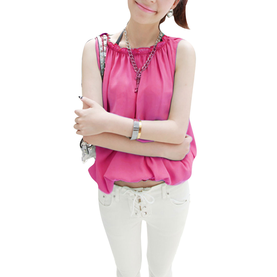 Lady Round Neck Sleeveless Hot Fashion Tops Blouses Fuchsia S