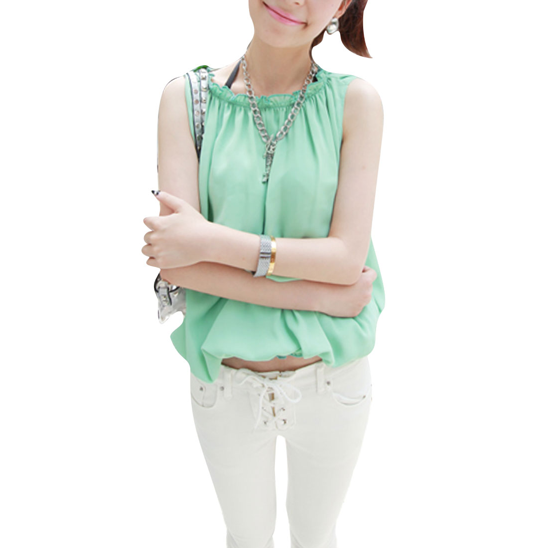 Women Softness Chiffon Self Tie String Casual Shirt Light Green S