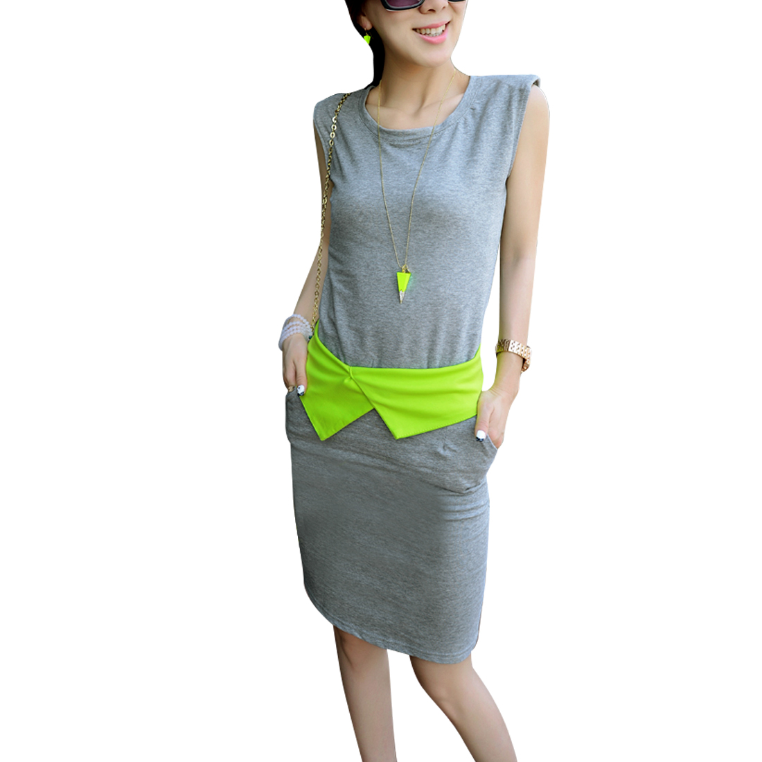 Women Round Neck Sleeveless Tank Top w Slim Fit Slant Pockets Skirt Grey XS