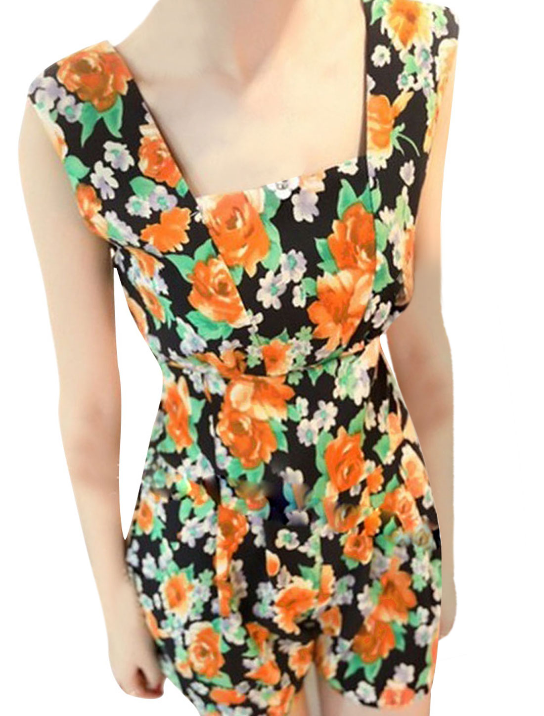 Ladies Newly Square Neckline Orange Flower Pattern Dark Blue Rompers XS
