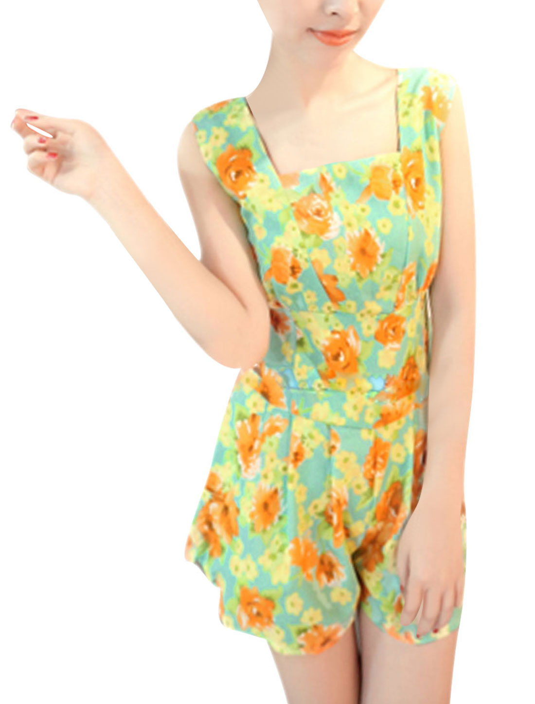 Women Sleeveless Square Neckline Floral Prints Romper Mint XS