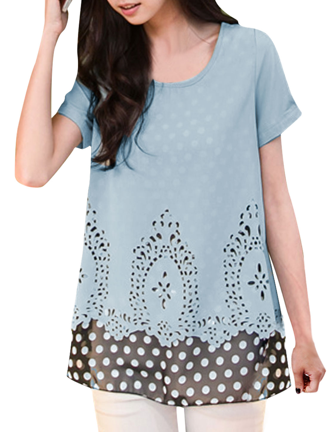 Ladies Dots Prints Round Neck Layered Shirts Shirt Light Blue S