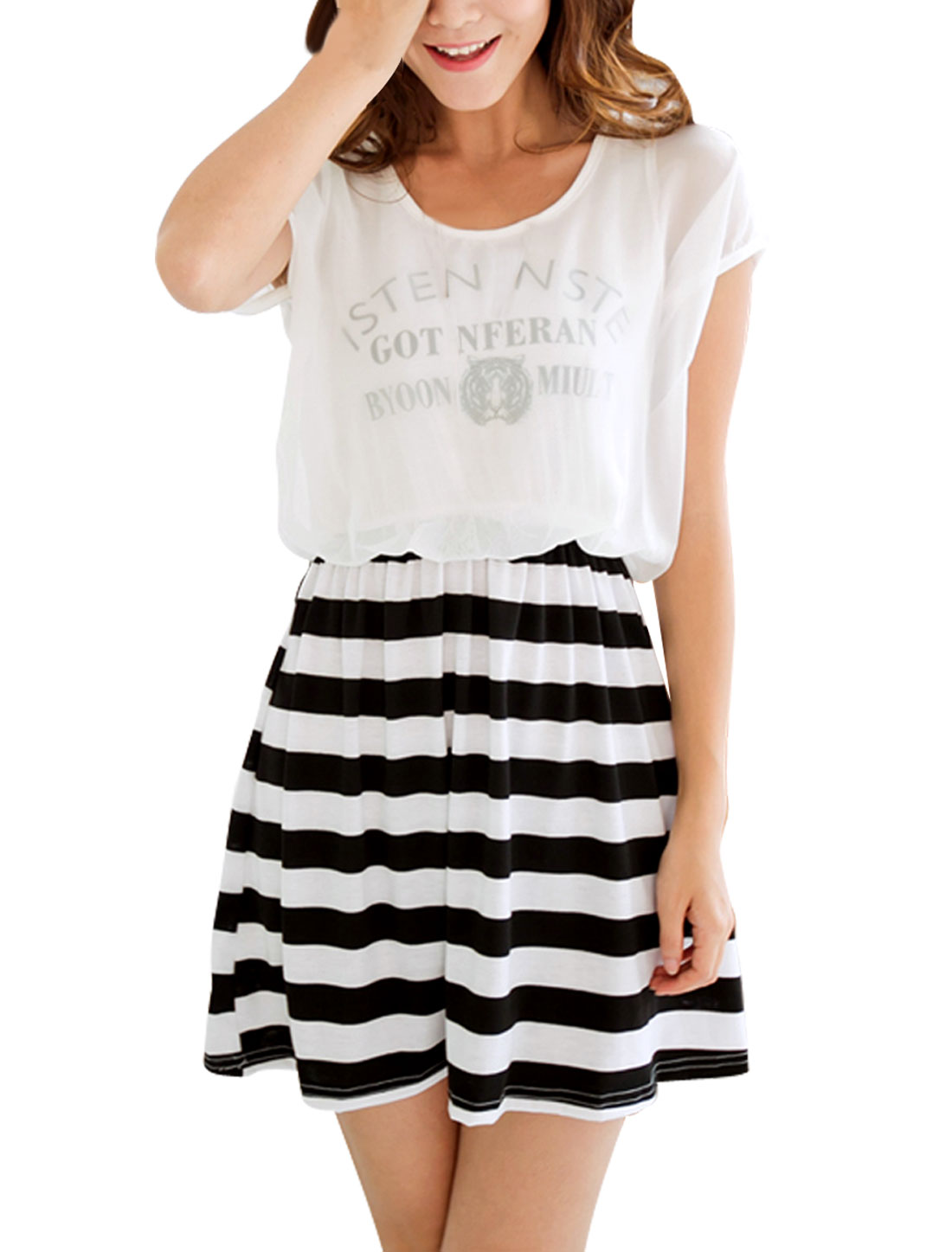 Lady Scoop Neck Stretchy Waist Stripes Pattern Pleated Dress White Black XS