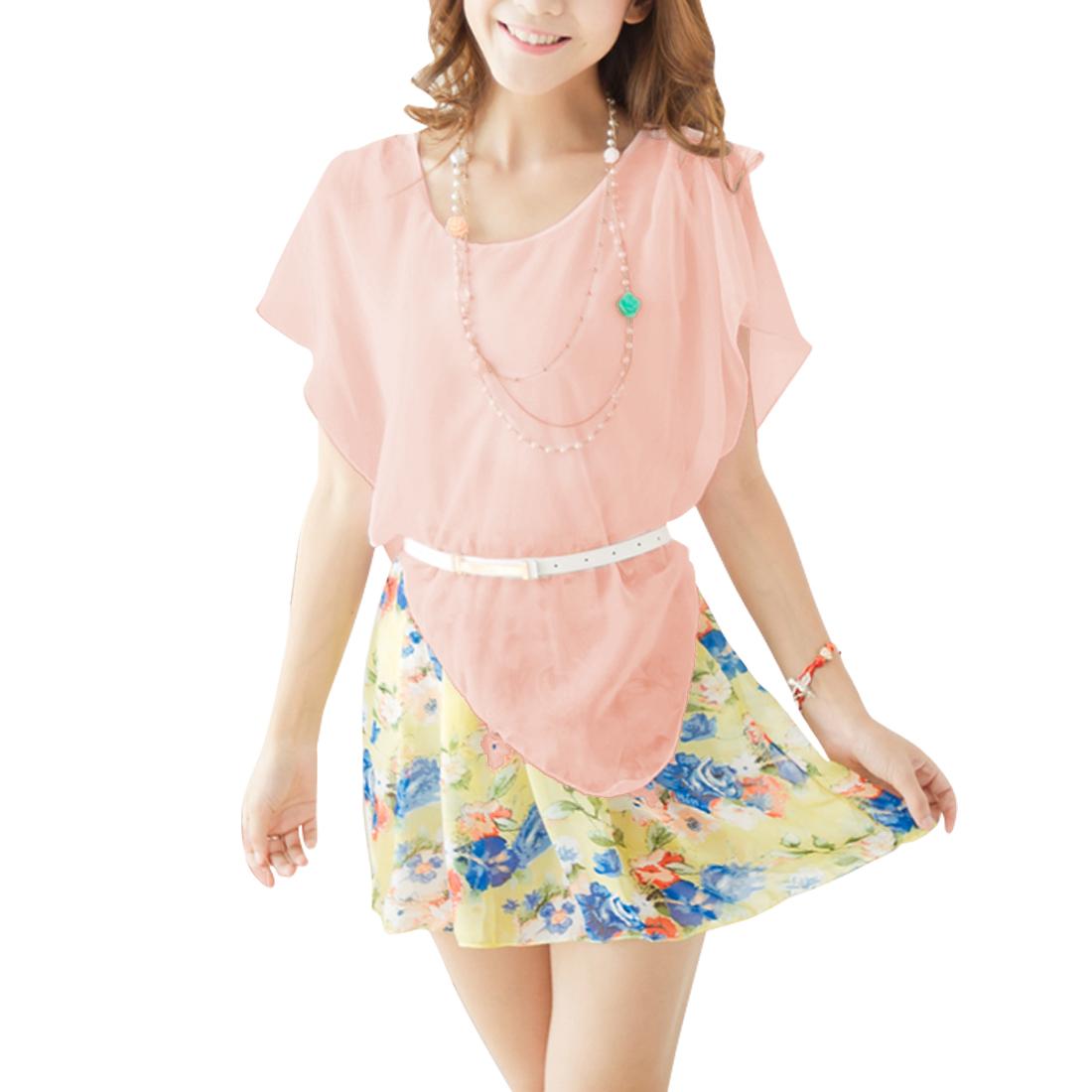 Lady Irregular Detail Design Florals Prints Light Pink Tiered Mini Dress XS