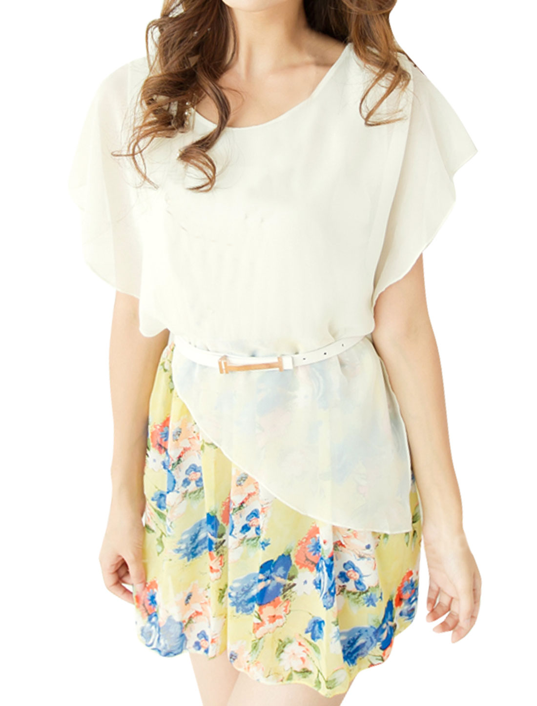 Lady Sleeveless Irregular Detail Chiffon Splice Florals Prints Off White Dress w Belt XS