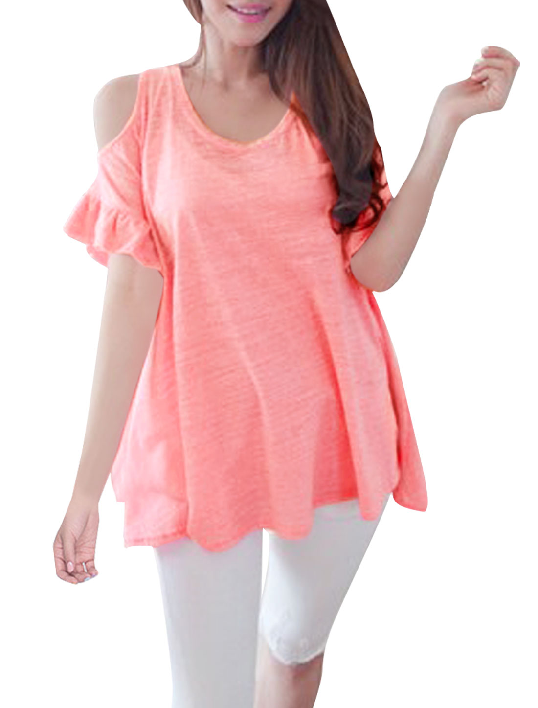 Ladies New Fashion Short Flare Sleeve Cutout Shoulder Pink Loose Tops M