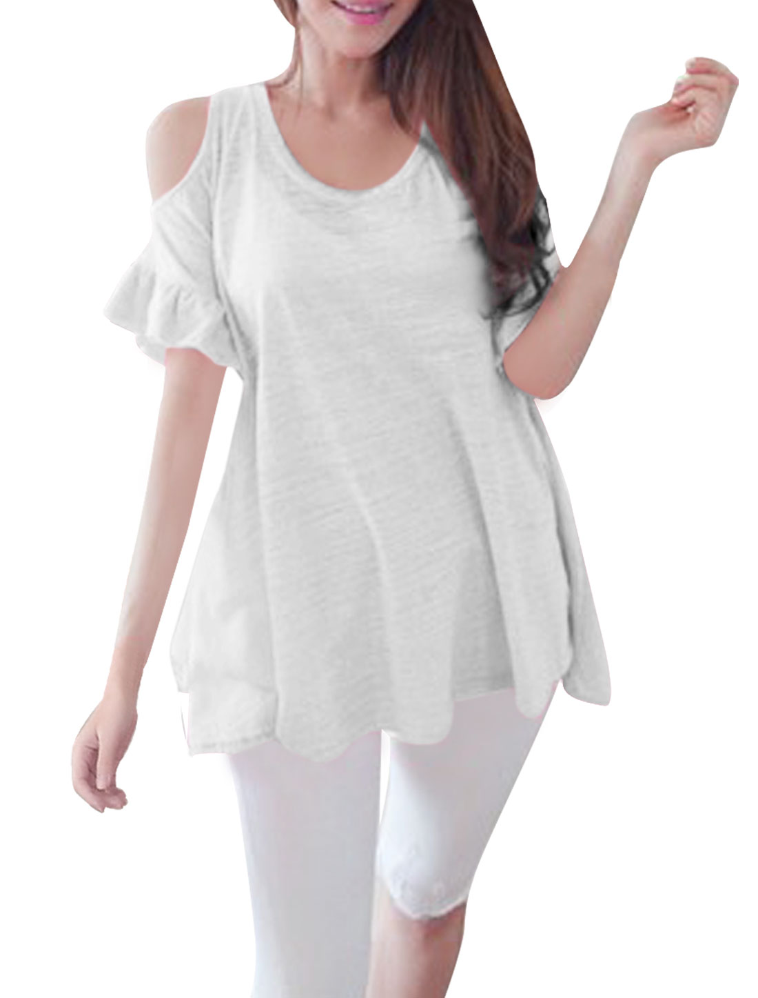 Woman Chic Round Neck Short Flutter Sleeve Cutout Shoulder White Loose Top M