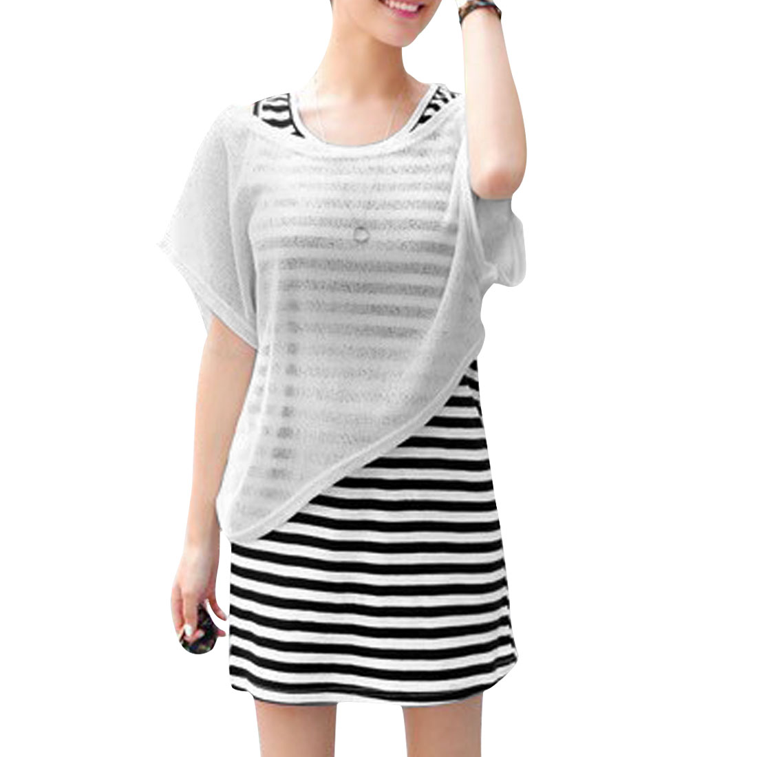 Lady White Sleeveless Stripes Pattern Dress W Scoop Neck Top XS