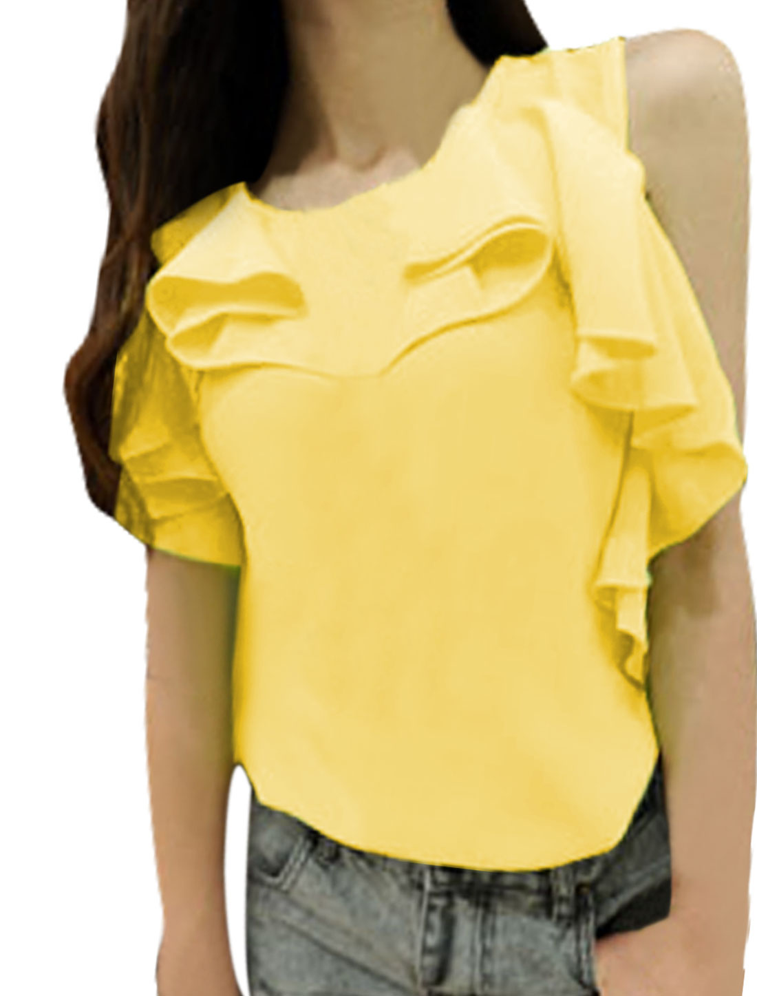 Ladies Round Neck Zip Up Back Flouncing Blouse Yellow XS
