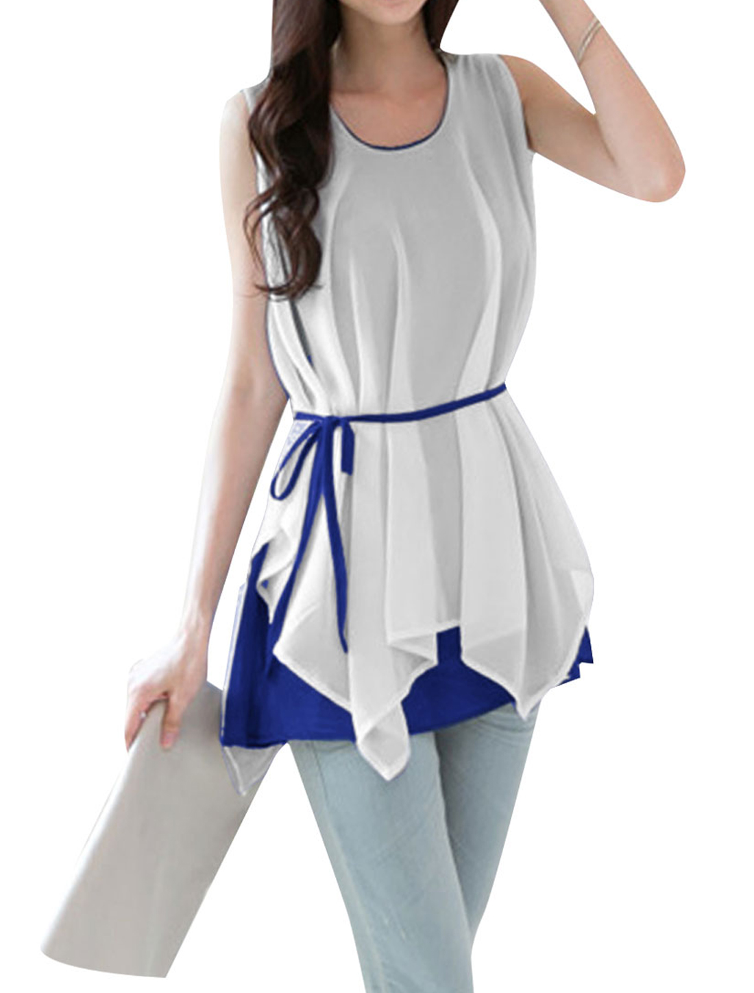 Ladies Round Neck Pullover Irregular Hem Top Shirt Royal Blue White S