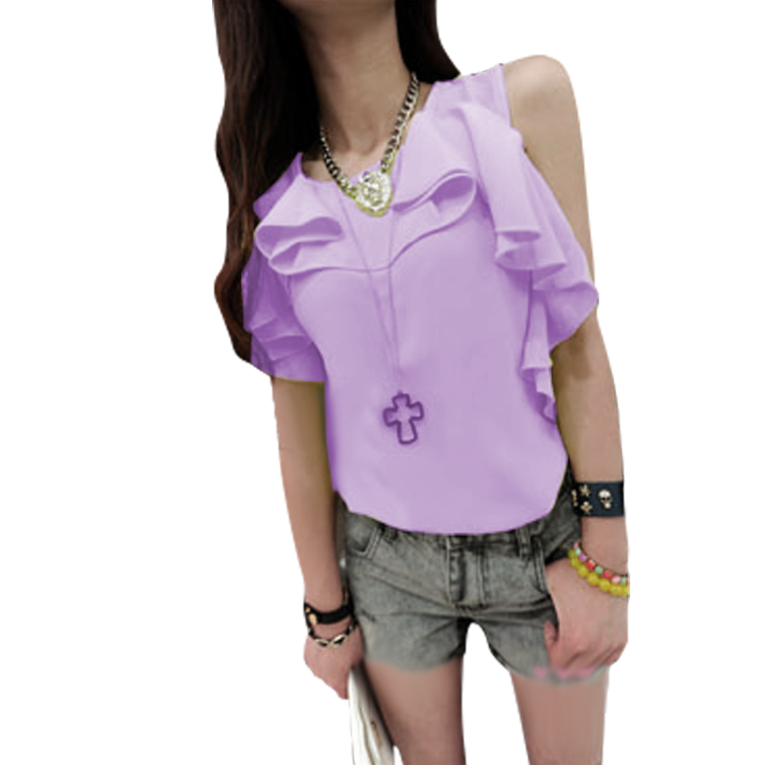 Ladies Zip Up Back Sleeveless Semi Sheer Casual Blouse Lilac XS