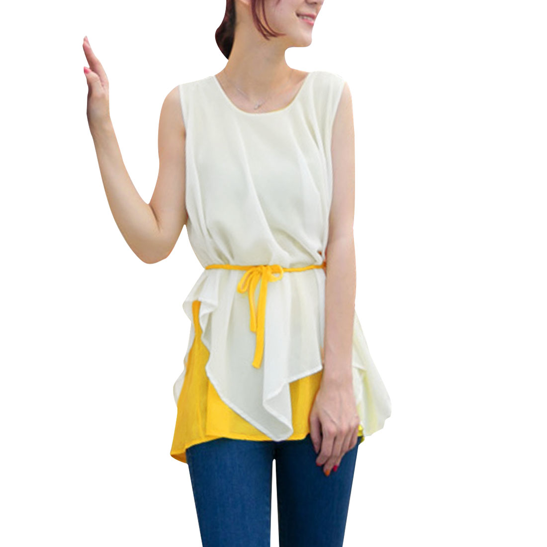 Ladies Pullover Sleeveless Tiered Top Shirt Yellow White S