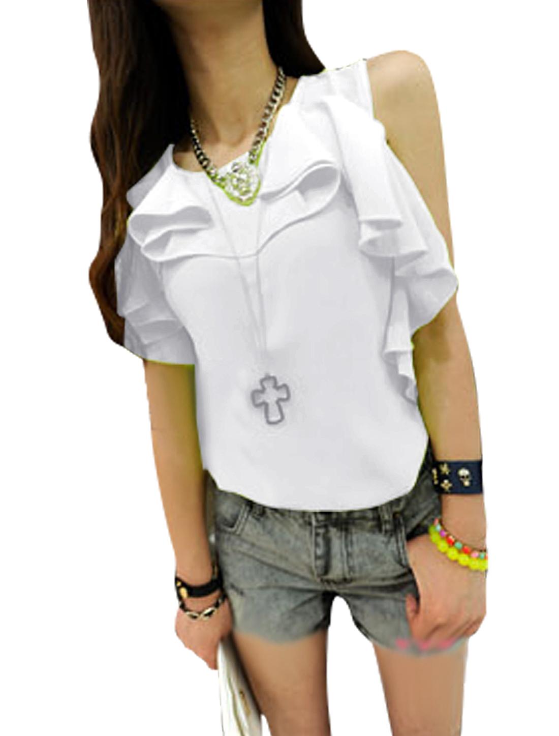 Ladies Round Neck Pullover Sleeveless Flounced Blouse White XS
