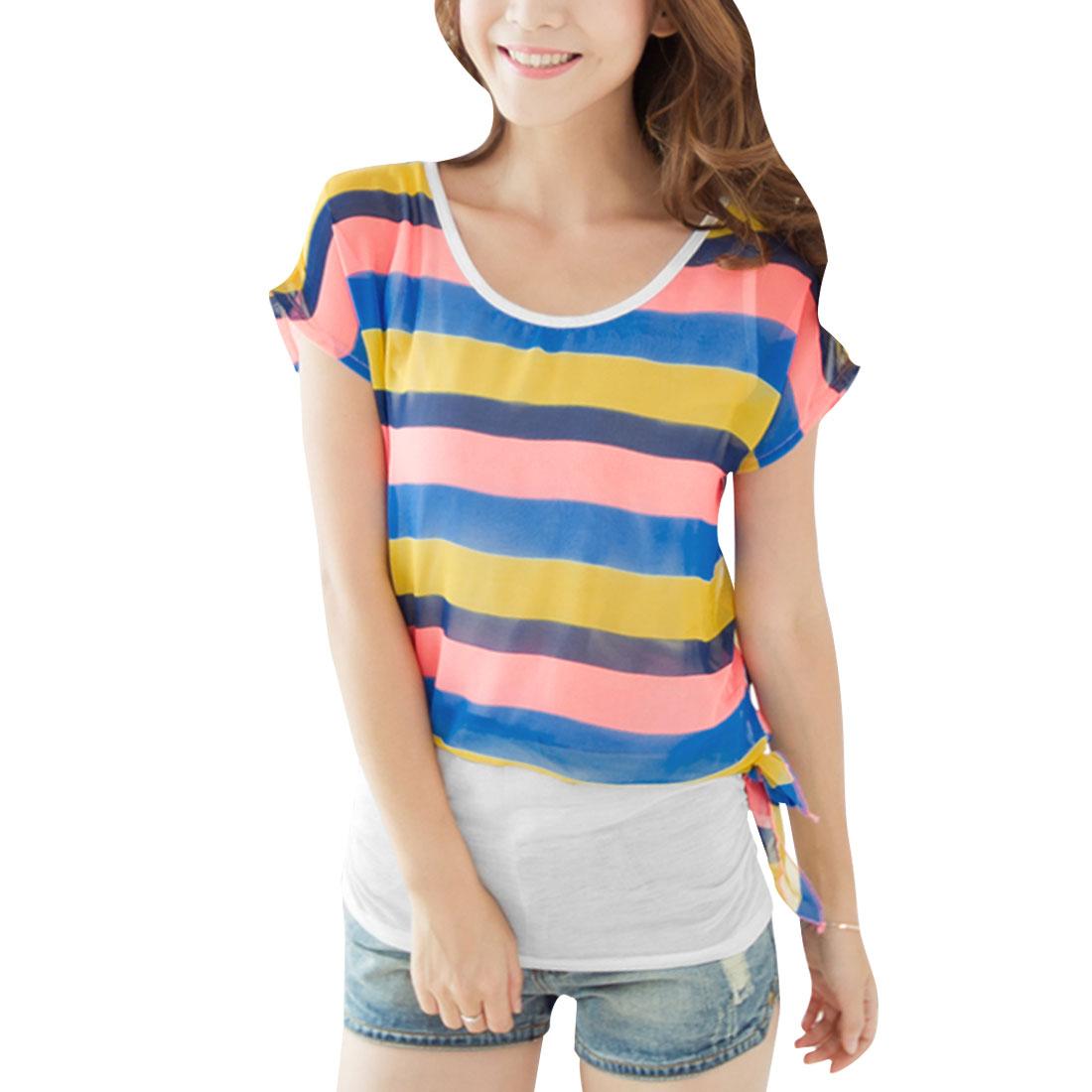 Lady Short Batwing Sleeve Stripes Pattern Yellow Salmon Pink Blouse XS