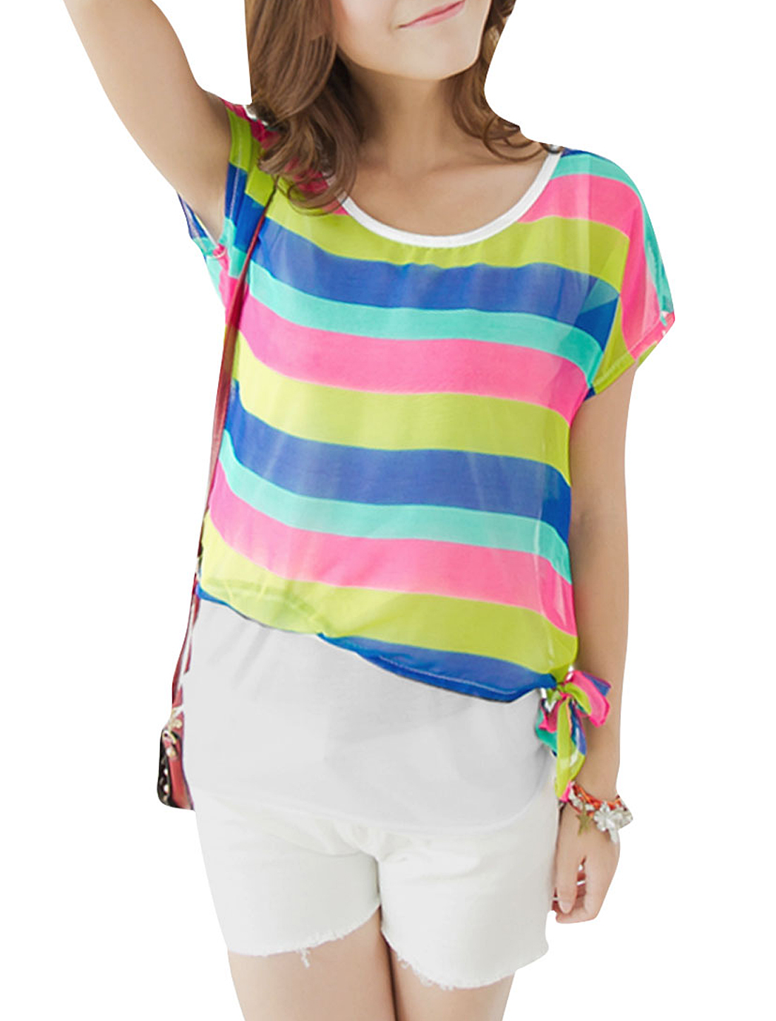 Lady Pullover Stripes Pattern Semi-sheer Lime Green Fuchsia Blouse XS