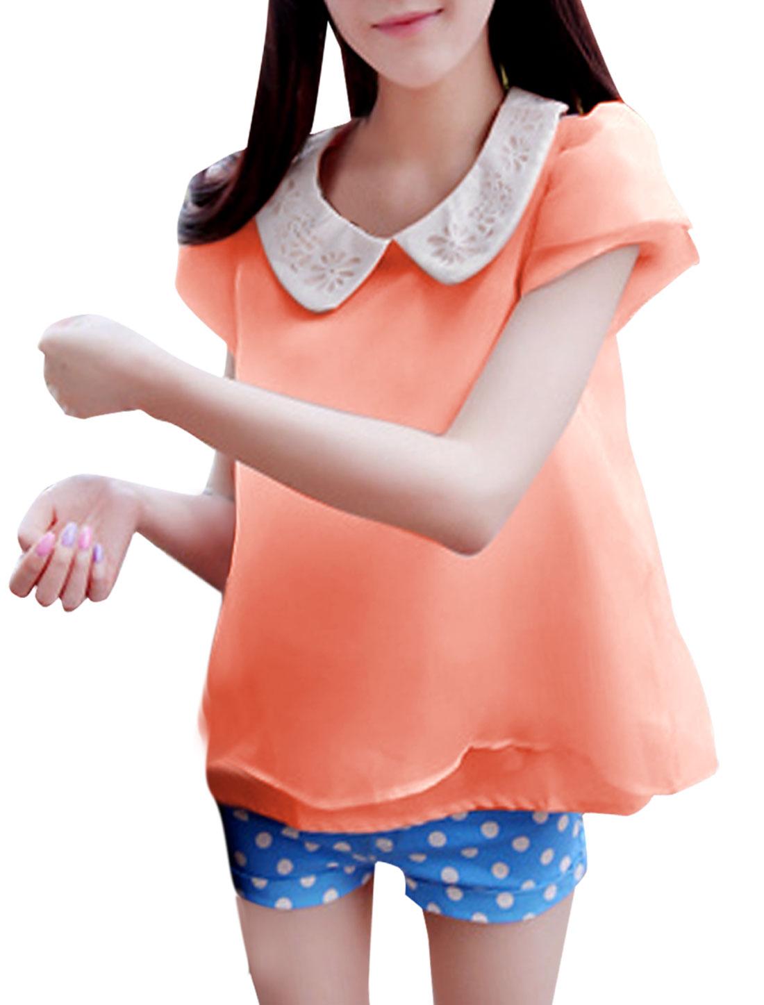 Women Doll Collar Puff Sleeve Mesh Splice Top Shirt Pink XS