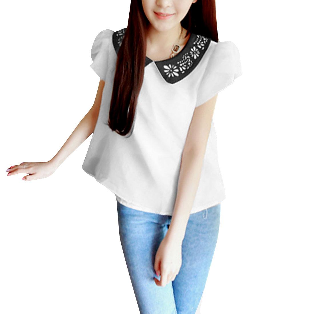 Women Doll Collar Zip Up Back Summer Top Shirt White XS
